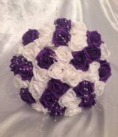 WEDDING FLOWERS ARTIFICIAL FLOWERS PURPLE WHITE ROSE PEARL BRIDE WEDDING BOUQUET